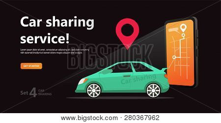 Car Sharing Concept. Business Man With Smartphone And  Rent Car. Parking Service Website Template. O