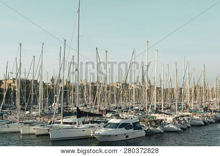 Barcelona, Spain - September 23, 2018: 2018: This Port One Of The Old Ports Of Barcelona