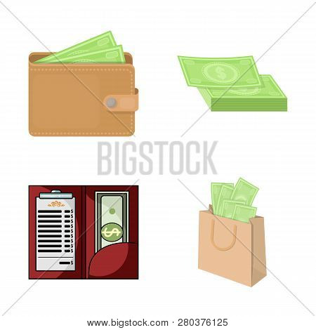 Vector Design Of Cash And Currency Symbol. Collection Of Cash And Stack Stock Vector Illustration.