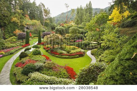 Masterpiece of landscape gardening art - Sunken-garden on island Vancouver