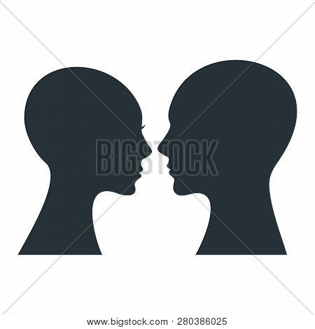 Human Profile. Black Silhouette Of Man And Woman Head.