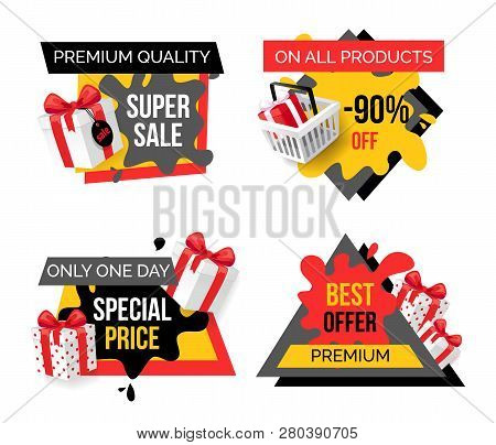Exclusive Products, Hot Sale Discounts Offers Vector. Basket With Gifts Boxes, Clearance And Promoti