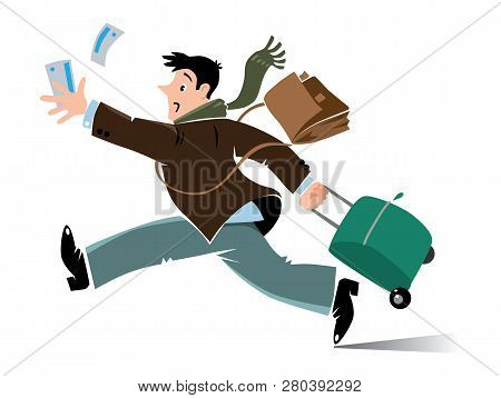 Funny Late Air Man Passenger With Suitcase