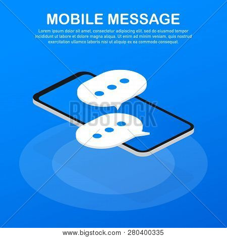 Mobile Message, Usage For E-mail Newsletters, Web Banners, Headers, Blog Posts. Vector Stock Illustr