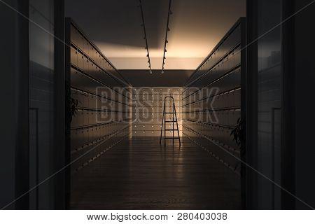 Safe Deposit Boxes And Ladder Inside Bank Vault. Safety Closets. 3d Rendering