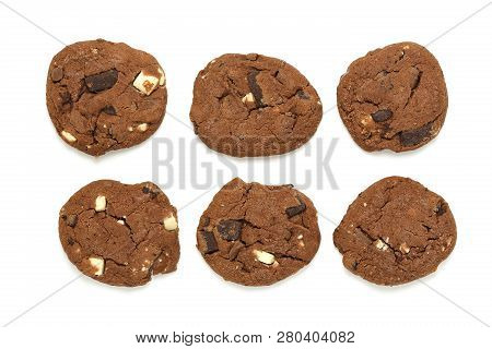 Homemade Chocolate Cookies With Hazelnuts On White