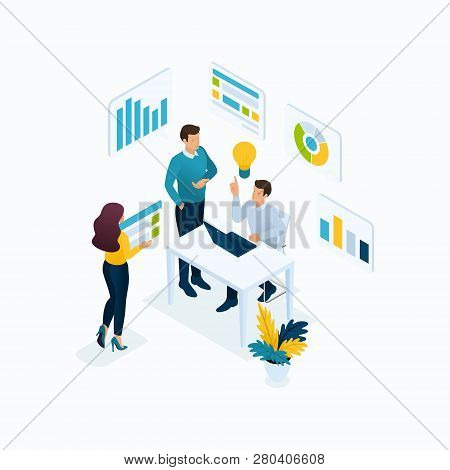 Isometric Concept Idea, Brainstorming, Teamwork, Young Entrepreneurs In The Office. Modern Vector Il