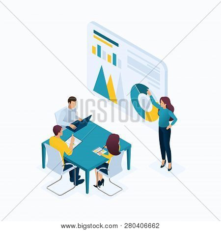 Isometric Concept Young Entrepreneurs In Office, Managers, Head Hunters, Agents, Hr, Workflow. Moder