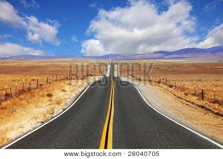 Excellent highway in California. Steppe and clouds