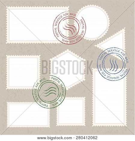 Postage Stamps Template Blank Vector Illustration With Retro Colors Set