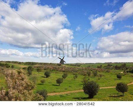 Picturesque windmill on horizon.  The rural footpath crosses a meadow with green trees