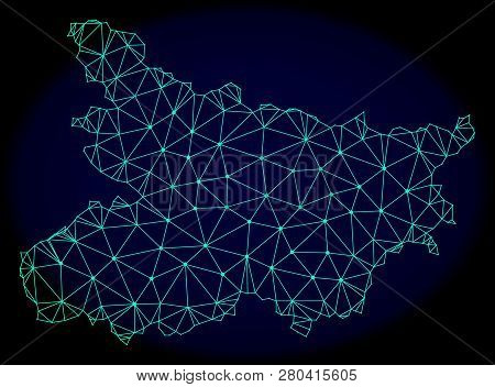 Polygonal Vector Mesh Map Of Bihar State. Connected Lines, Triangles And Points Forms Abstract Map O