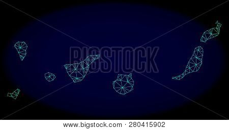 Polygonal Vector Mesh Map Of Canary Islands. Connected Lines, Triangles And Points Forms Abstract Ma