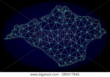 Polygonal Vector Mesh Map Of Isle Of Wight. Connected Lines, Triangles And Points Forms Abstract Map