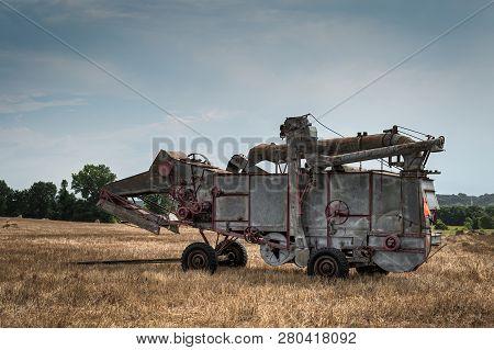 Vintage Steam Thresher In Cut Field - Blue Sky