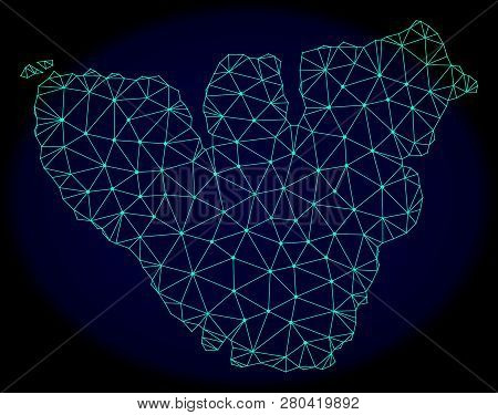Polygonal Vector Mesh Map Of Moorea Island. Connected Lines, Triangles And Points Forms Abstract Map