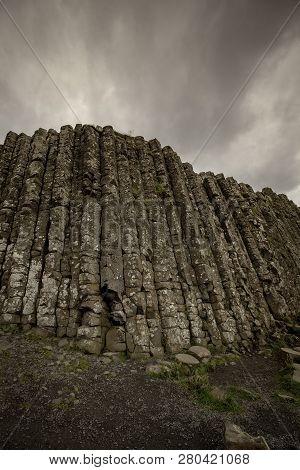 Vertical Basalt Columns At Giants Causeway In Northern Ireland