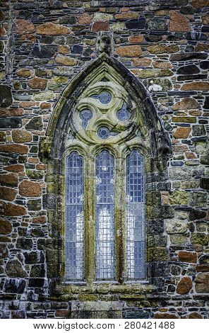 Gothic Window Detail On Iona Abbey In Scotland