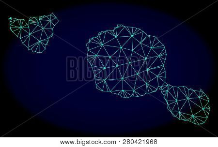 Polygonal Vector Mesh Map Of Tahiti And Moorea Islands. Connected Lines, Triangles And Points Forms