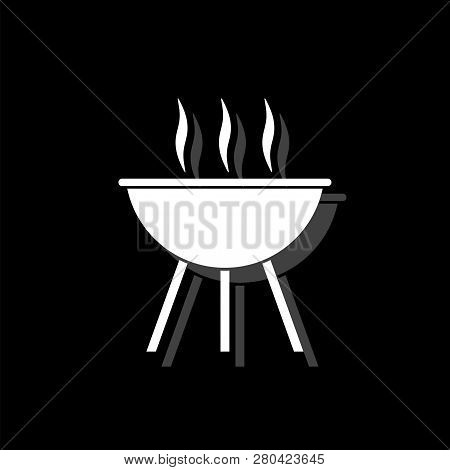 Roaster Bbq. White Flat Simple Icon With Shadow