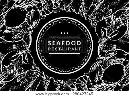 Vector Sketch Underwater Animal Sea Food Pattern