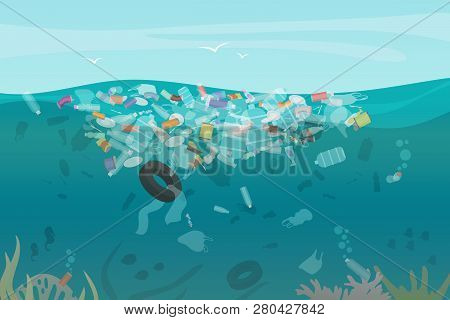 Plastic Pollution Trash Underwater Sea With Different Kinds Of Garbage - Plastic Bottles, Bags, Wast