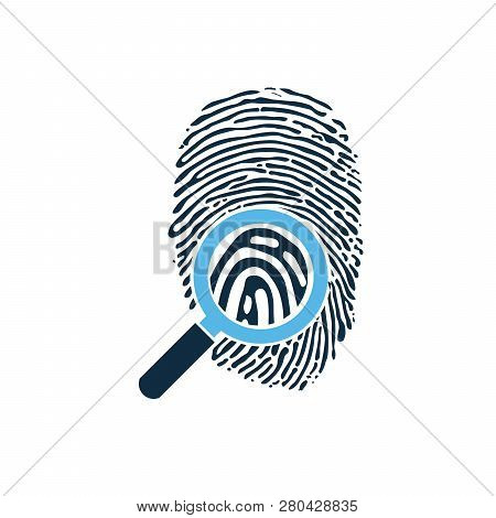 Black Fingerprint Through Magnifying Glass Vector Illustration. Criminalistics Research. Vector Illu