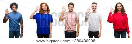 Composition of african american, hispanic and caucasian group of people over isolated white background smiling positive doing ok sign with hand and fingers. Successful expression.