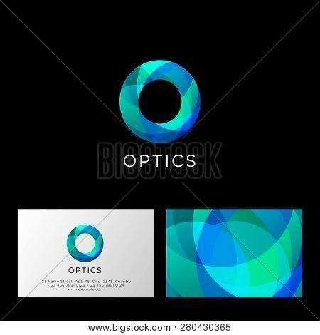 Optics Logo. O Letter. Blue And Azure Transparent Abstract Symbol. Web, User Interface Icon. Identit
