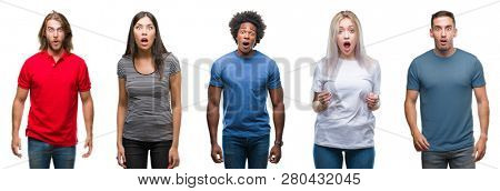 Composition of african american, hispanic and caucasian group of people over isolated white background afraid and shocked with surprise expression, fear and excited face.