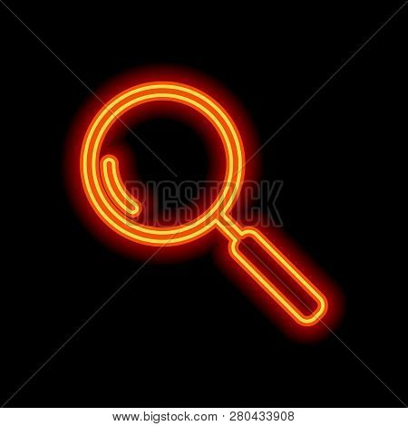 Loupe, Search Or Magnifying. Linear Icon, Thin Outline. Orange Neon Style On Black Background. Light