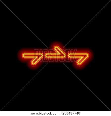 Few Arrows, Same Direction. Linear, Thin Outline. Orange Neon Style On Black Background. Light Icon