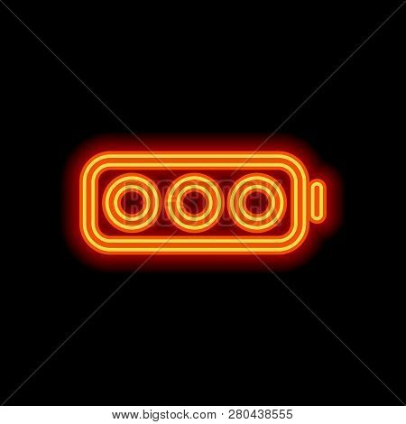 Simple Empty Battery, None Level. Orange Neon Style On Black Background. Light Icon