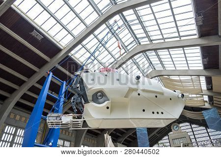 Cherbourg, France - August 26, 2018: The Alvin Submersible On The Exhibition In The Maritime Museum
