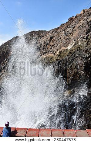 Ensenada, Mexico - Oct 25: La  Bufadora Blowhole In Ensenada, Mexico, As Seen On Oct 25, 2018. It Is