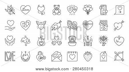 Valentines Day Thin Line Icon Set. Outline Sign Kit Of Love. Couple Hearts Linear Icons Of Cupid Bow