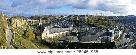 Luxembourg, Luxembourg - December 17, 2018: Luxembourg City View From Le Chemin De La Corniche Or