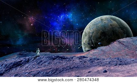 Space Scene. Colorful Nebula With Planet, Asteroid And Astonaut. Elements Furnished By Nasa. 3d Rend