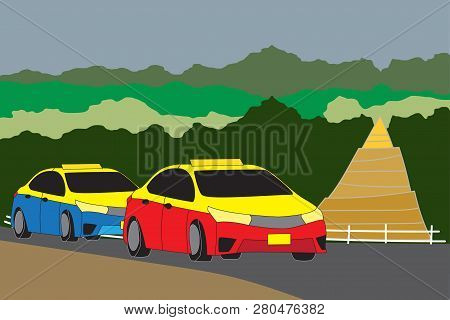 Red  Pick Up Truck Taxi Chiang Mai With Nature And Pagoda Background Vector