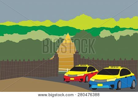 Taxi Meter Chiang Mai  With Nature And Gate Background Vector