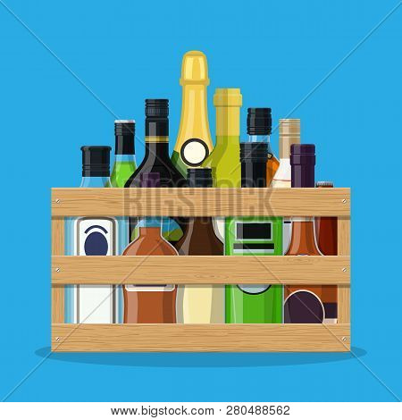 Alcohol Drinks Collection In Box. Bottles With Vodka Champagne Wine Whiskey Beer Brandy Tequila Cogn