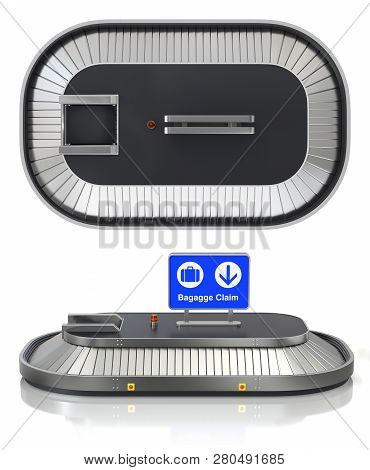 Empty Airport Baggage Claim Transporter, Side And Top View - 3d Illustration