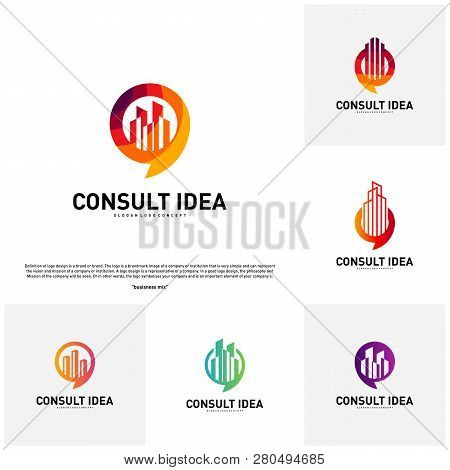 Set Of Modern Building Consulting Agency Logo Design Template. Modern City Chat Logo Concept