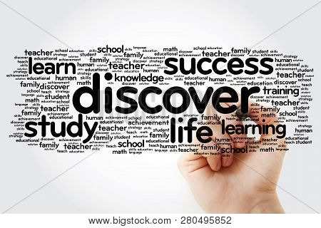 Discover Word Cloud With Marker, Education Concept