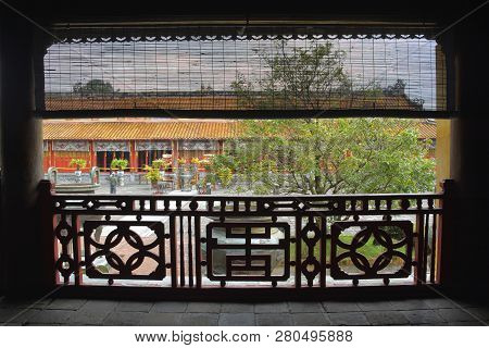 The View From Inside The Hien Lam Pavilion Looking Towards The Nine Dynastic Urns And The To Mieu Te