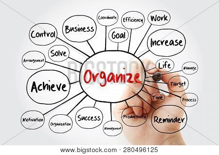 Organize Mind Map Flowchart, Business Concept With Marker