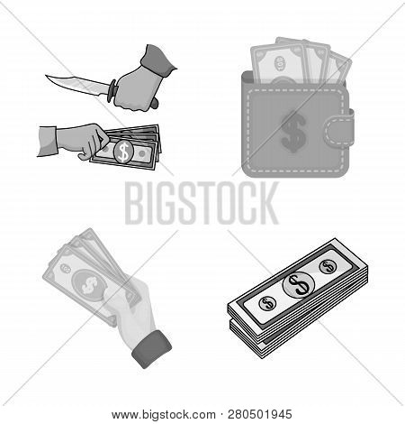 Vector Illustration Of Cash And Currency Symbol. Set Of Cash And Stack Vector Icon For Stock.