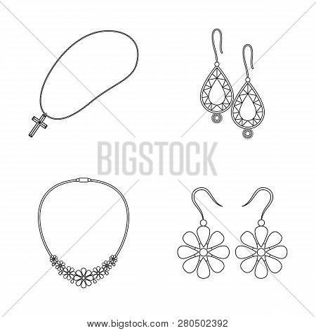 Vector illustration of jewelery and necklace logo. Collection of jewelery and pendent stock vector illustration. poster