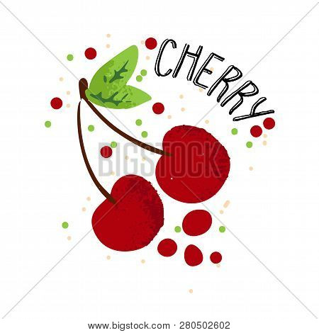 Vector Hand Draw Cherry Illustration. Red Cherries With Juice Splash Isolated On White Background. T