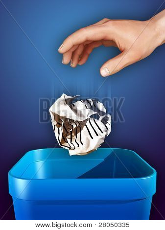 Hand dropping some crumpled paper in a trash can. Digital illustration.